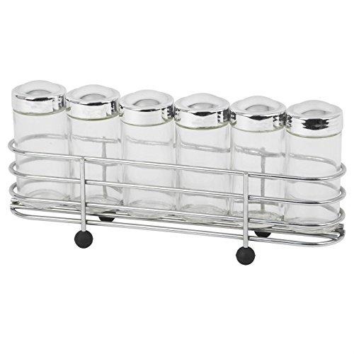 Gewürzregal Gewürzaufbewahrung Kräuterregal SPICY mit 6 Glasstreuer Chromaufsatz