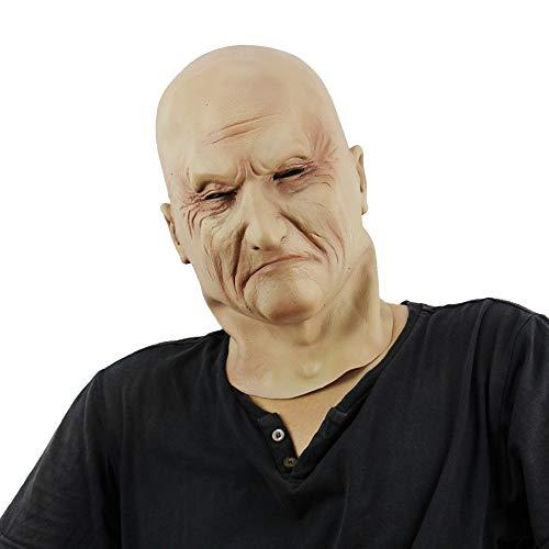Meme Kostüm Alte - YGCLMASK Halloween Maske, Alter Mann Latex Falten Gesichtsmaske, Vollkopfmaske, Horror Für Gummimaske Weihnachtsfeier, Cosplay Kostüm