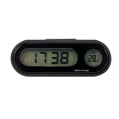 Konesky Auto Uhr Universal Auto Armaturenbrett Uhr Air Vent Lenker Quarzuhr Temperaturanzeige Stick-on Uhr mit Nachtanzeige und LCD-Bildschirm