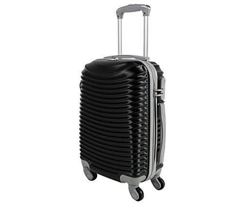 Trolley da cabina valigia rigida 4 ruote in abs policarbonato antigraffio e impermeabile compatibile voli lowcost come Easyjet Rayanair art 2030 / piccolo nero