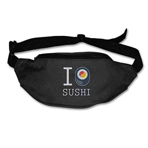 Waist Bags Pockets I Love Sushi Logo Fanny Pack Waist/Bum Bag Adjustable Belt Runner's Pack -