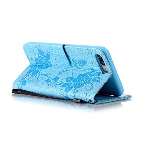 EUWLY Protettiva Case Cover per iPhone 7 Plus/iPhone 8 Plus (5.5) Custodia Portafoglio in PU Pelle Cover Elegant Premium PU Leather Wallet Cover Goffratura Farfalla e Fiore Rosa Design Pelle Custodia Fiore Rose Farfalla,Blu