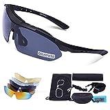 Als Geschenkidee zu Weihnachten bestellen Für Triathleten - Carfia Multi TR90 UV 400 Outdoor Sport Brille Polarisiert Sonnenbrille Radbrille mit 5 wechselbare Linsen für Skilaufen Golf Radfahren Laufen Angeln Baseball,B