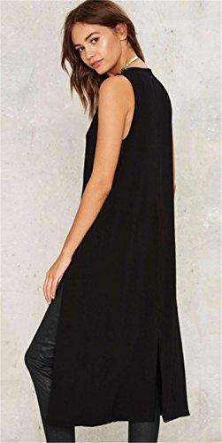 Sexy Sans Manche Haute Côtés Fendue Fentes Fendu Longline Midi Mi-longue Débardeur Vest Haut Top Dress Robe Noir