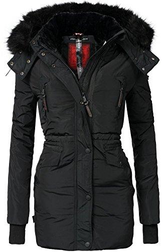 Navahoo Damen Jacke Wintermantel Winterparka Sesa (vegan hergestellt) Schwarz Gr. XS