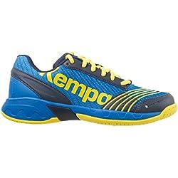 Kempa Attack Junior, Zapatillas de Balonmano Unisex Niños, Azul (Bleu Profond/Jaune Citron), 39 EU