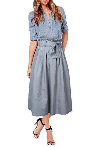 Uideazone Sommer Frauen A-Linie Rock in voller Länge Röcke lang mit Schleife grau 14 (Länge Damen Rock Volle)