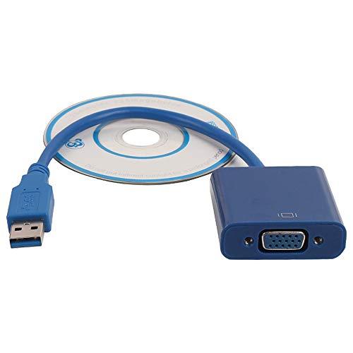 Yowablo USB 3.0 auf VGA Grafikkarte Display Externer Kabeladapter für Win 7 8 + CD (M,Blau) -