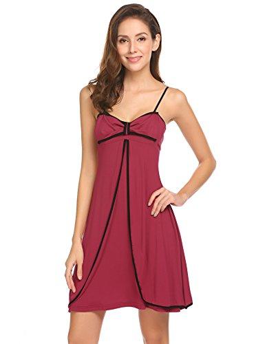 Meaneor_fashion_Origin Damen Negligee Träger Nachthemd Rückenfrei Nachtkleid Nachtwäsche kleider Babydoll Lingerie Sleepwear, Rot (Jujube), Gr. XL(EU46-48) - Schlüsselloch-nachthemd