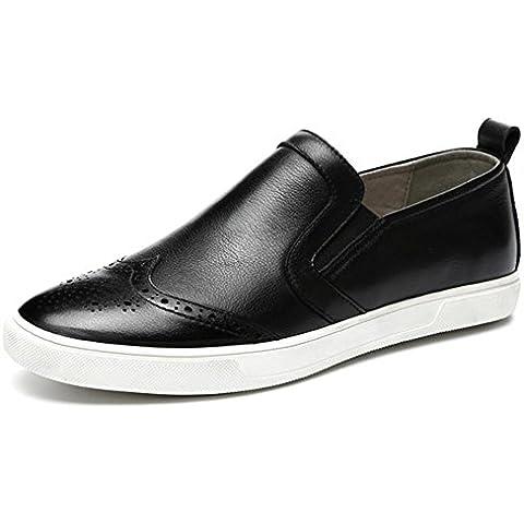Scarpe uomo autunno inverno vera pelle moda stile britannico Pizzo Casual Board , black , 42
