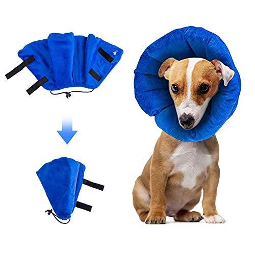 cineman Haustier Halskrause Leckschutz Aufblasbare Plüsch PVC Einstellbar Haltbar Waschbar Kratzfest Anti-Biss Schutzkragen für Hunde Katzen und Anderen Haustiere