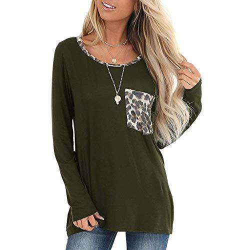 Frauen Winter Sweatshirt,Evansamp Leopard-Taschen-Oberseiten-Kurze/Lange Hülsen Der Dame V Ansatz-T-Shirt Beiläufige Grundlegende T-Stücke(Army Green2,S) -