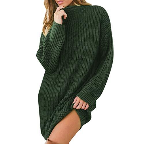 Kleid Prom Carrie Kostüm - feiXIANG Damen Kleider Dress Sommerkleid langes Hülsen beiläufiges Strickpullover Winter Casual Shirtkleid (Grün,S)