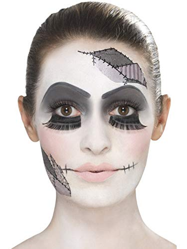 Halloweenia - Damen Damaged Doll zerbrochene Puppen Make Up Set mit Schminke Wimpern und Klebe Tattoos, perfekt für Halloween Karneval und Fasching, Weiß