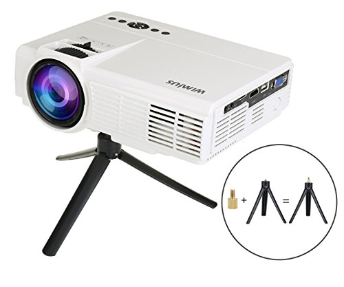 LED Projektor Mini Tragbarer Beamer Mini Projektor HD Videoprojektor Multimedia Heimkino Video Projektor mit HDMI Kabel unterstützt AV/ VGA/ USB/ SD/ HDMI WIMIUS(T3 weiß)