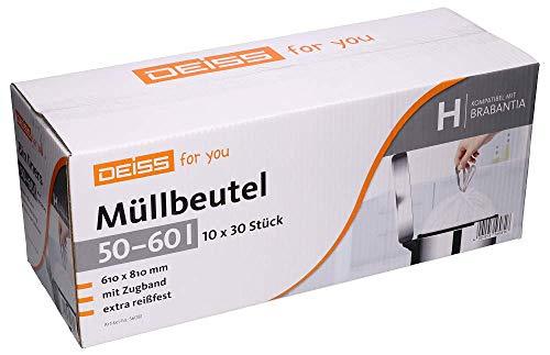 Müllbeutel DEISS 50-60 Liter für Brabantia Touch Bin (Größe H), 300 Stück 50 L Touch Bin