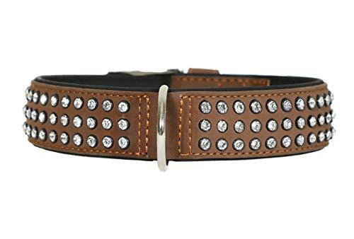 Othello Hundehalsband Modern Art Leder mit Strasssteinen Glitzer Steine Lederhalsband Hunde Halsband weiches Leder Connie - Braun - XL: 47-54 cm / 40mm (Leder Hund Halsband Und Leine)