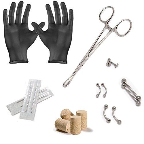 LionGothic PK021 Piercing-Set für Bauchnabel / Zunge / Brustwarze / Lippe / Nase, mit Piercingnadeln 14G und 16G, 18-teilig