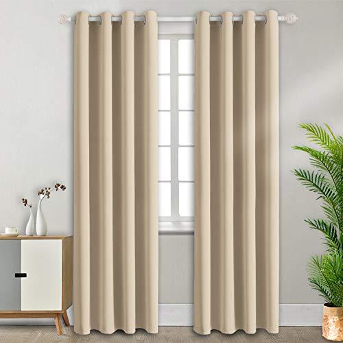 Tende oscuranti moderne per finestre camera da letto casa interni,2 panelli(117 x 228cm(l×a),beige)