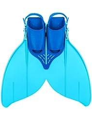 Flosse Schwimmflossen Meerjungfrau Flossen Monolithische Flossen für Kinder oder Teenager Schwimmen Training 34-40(215mm-240mm)Schuhgröße Blau / Gelb
