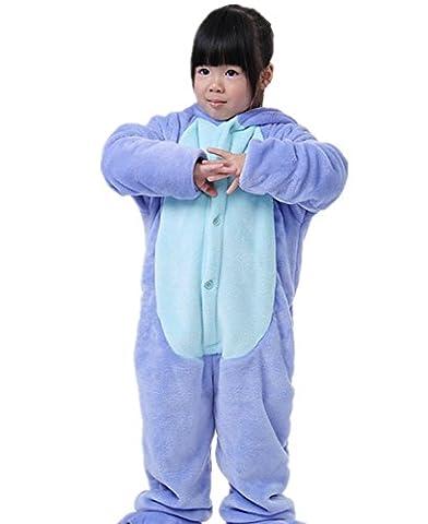 Wealsex Pyjama Combinaison Animaux Cosplay Costumes Halloween Slipper Pantoufle Enfant Unisexe(bleu,taille