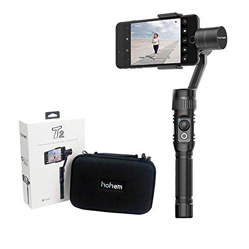 ohem T2 3-Achsen Handheld Gimbal Stabilisator für iPhone X 8 7 Plus 6 Plus Samsung Galaxy S7 S6 S5 mit Bluetooth Steuerung Vertikal Schießen Panorama-Modus Auto-Tracking Zoom In / Out (Schwarz)
