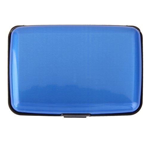 Mini Porte Carte de Crédit Etui en Aluminium Etanche pour Carte d'Identité- Bleu