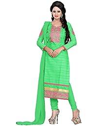 Jheenu Women's Green Cotton Straight Unstiched Dress Material.