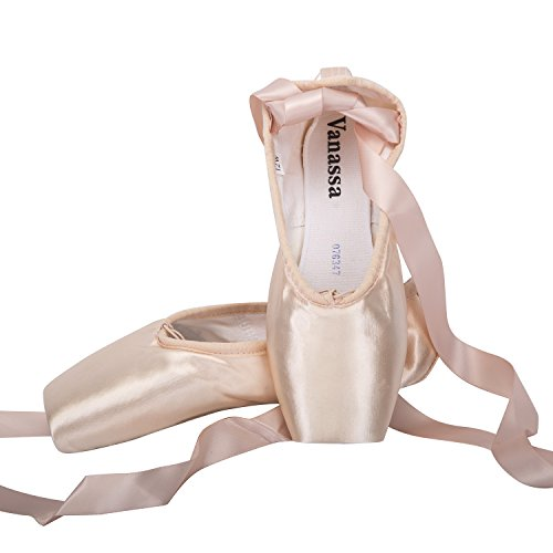 WENDYWU Les Filles Femme de Ballet Pointe Chaussure Ballet Classique Pointe Satin Ballet Chaussure de Danse avec Capuchons d'orteils Protecteurs en Gel de Silicone et Ruban