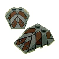 2x LEGO System Pitched Roof Flue Tile Stone New Dark Taupe 4x 4with Pattern Star Wars 795748933PB009