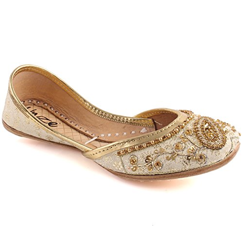 Unze Mädchen LAMORNA Indische Perlen Pailletten Sandale Kids Punjabi Mehndi Slip on Tila Flachbild Khusa UK Größe 1-13 - WS-34-KIDS