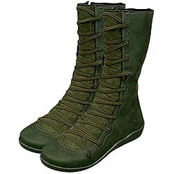 Botas De Piel Sintética para Otoño Vintage, Botas Altas para Mujer, Botines Planos para Mujer Zapatos Casuales Botas, Botas Zapatos Mujer Otoño Invierno (EU:39.5/ CN:41, Verde)