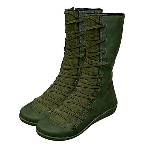 Botas De Piel Sintética para Otoño Vintage, Botas Altas para Mujer, Botines Planos para Mujer Zapatos...