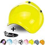 Visière Bubble trois boutons benne jaune or universel pour casque jet compatible...