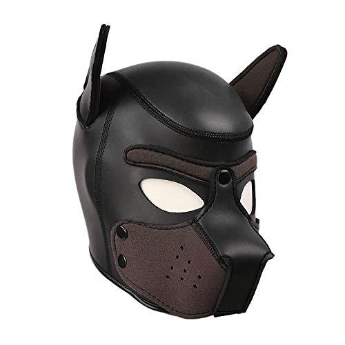 Penisringe SexSpielzeug Gepolstertes Latex Masken Hundemaske Cosplay Voller Kopf Mit Ohren (H)