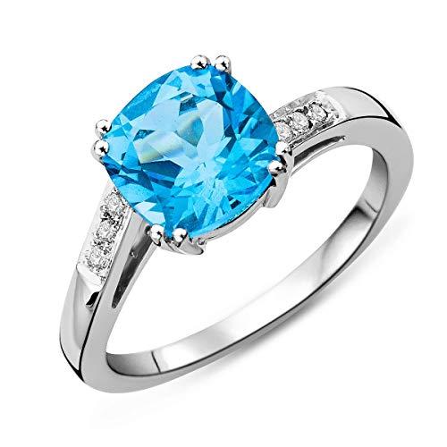 Miore Damen Weißgold Topas Verlobungsring 9KT (375) mit Diamant Brillanten 0.06 ct