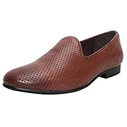 Bareskin Tan Perforated 100% Genuine Leather Loafer Shoes For Men