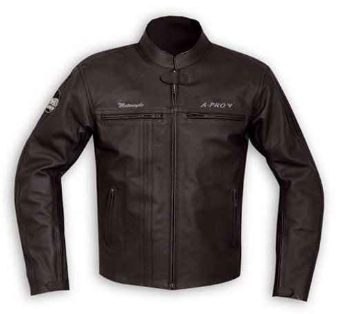 A-Pro Jacket Leather Mens Biker Motorcycle Ce Protectors Armored Black XL