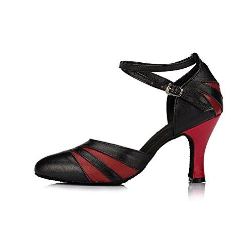 Miyoopark ,  Damen Tanzschuhe Black/Red-8cm Heel
