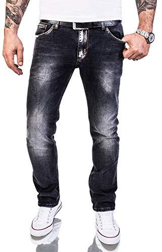 Rock Creek Herren Jeans Hose Regular Slim Stretch Jeans Herrenjeans Herrenhose Denim Stonewashed Basic Stretchhose Raw RC-2143 Schwarz W31 L30
