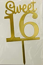 Party Time Sweet 16 Cake Topper for Birthday Parties/Birthday Decoration Items (Gold)