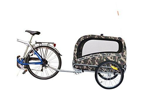 POLIRONESHOP SNOOPY rimorchio per trasporto cani cane animali carrello carrellino trasportino rimorchi da bici bicicletta dog portacani portacane porta appendice x (Mimetico, Large)