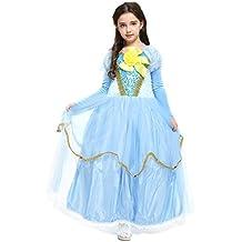 Katara - Abito da Principessa delle Fiabe, Costume di Carnevale, Halloween, Feste A Tema, Compleanni per Ragazze, Vestito in Tulle E Pizzo, Con Guanti Lunghi Senza Dita - 8-9 Anni