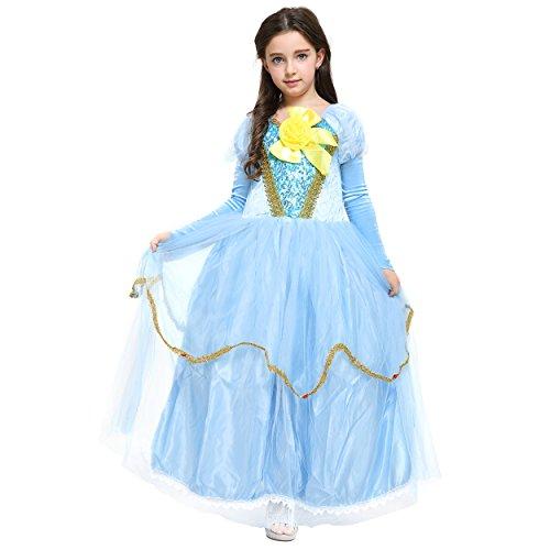 Blaues Prinzessin-Kleid mit Stulpen, gelbe Schleife, Cosplay, Kostüm für Fasching, Karneval, Hochzeit, Geburtstag, Weihnachten, Ballkleid mit Spitze für (Elsa Kostüme Für Kleinkinder)