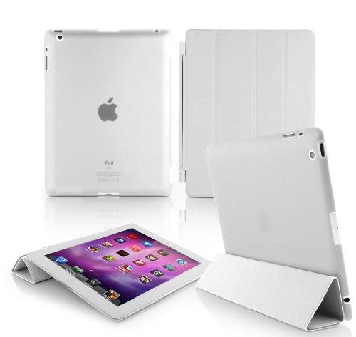 Jellybean Housse en cuir magnétique ultra slim Smart Coque avec Film Protecteur d'écran et stylet pour Apple iPad Mini 1/2 – Blanc