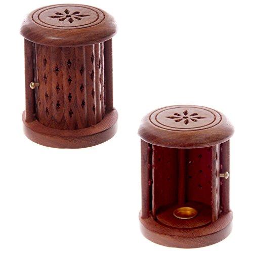 Brucia Incenso in legno Sheesham Cilindro decorato