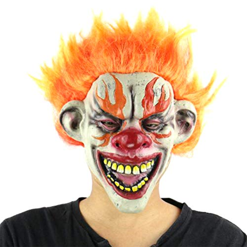 SuperCimi Halloween Dämon Scary Clown Cosplay Horrific Requisiten Teufel Flamme Zombie Maske mit Haaren (für ()