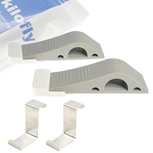 kilofly-antiscivolo in gomma, facile da riporre Fermaporta [Set di 2] + 2ganci da Porta
