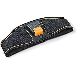 Beurer EM 37 Ceinture abdominale, Entraînement abdominal EMS, Electrostimulation musculaire pour renforcer les muscles abdominaux - Noir/Orange
