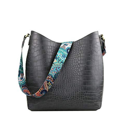 Yiwjby Frauen Handtaschen Hobo Bag Crocodile Handtaschen Frauen Schulter Beutel Hobos große Kapazitäts Einkaufstasche Printing Purse Gray -